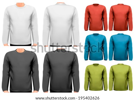 Colorful male long sleeved shirts. Design template. Vector.  - stock vector