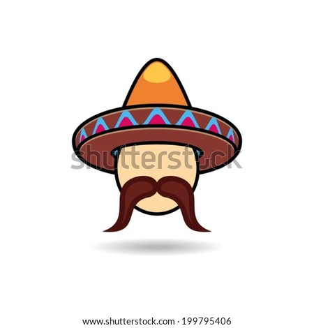 Colorful man face with sombrero and large moustache - stock vector