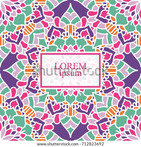 Colorful mandala template for card, invitation, or birthday. Stylized flower, floral round ornament.Colorful template for your design.