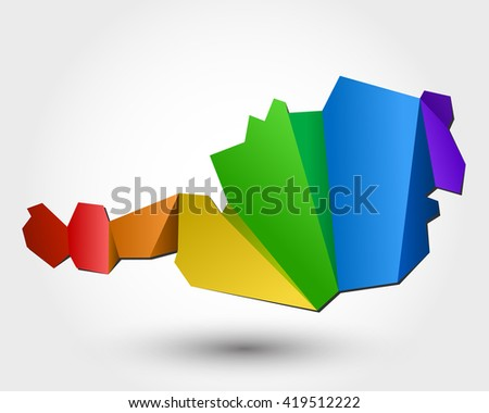 colorful map of Austria, stylized concept - stock vector