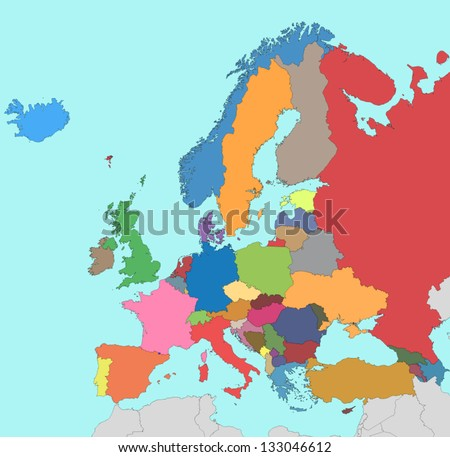 Colorful map of Europe - stock vector