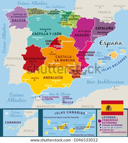 Colorful Map Spain Spanish Names Regions Stock Vector (Royalty Free ...