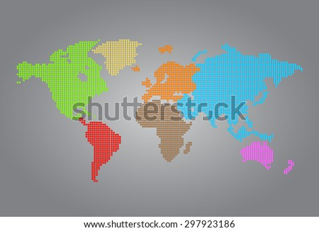 colorful map of the world pixel background. vector illustration. dot. table. square. Mosaic. ingographics. background for computer graphic website internet and technology. gray background. - stock vector