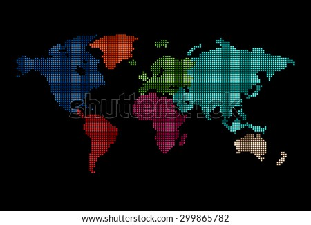 colorful map of the world pixel background. vector illustration. dot. table. square. Mosaic. ingographics. background for computer graphic website internet and technology. dark black background. - stock vector