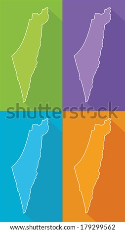 Colorful map silhouette with shadow - Israel  - stock vector