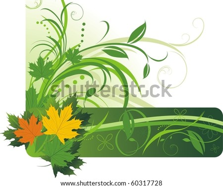 Colorful maple leaves on the floral abstract background. Vector - stock vector