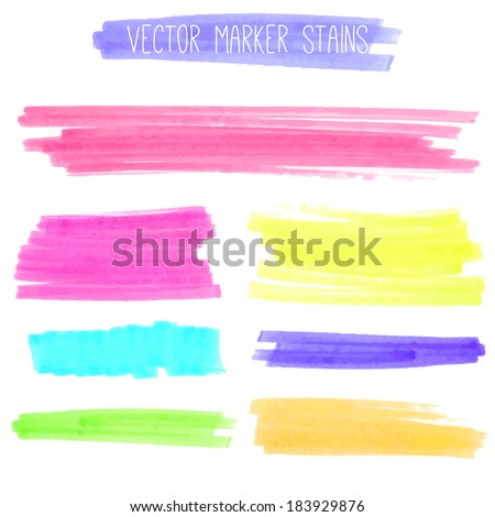 Colorful marker lines and stains. Vector textured design elements. - stock vector