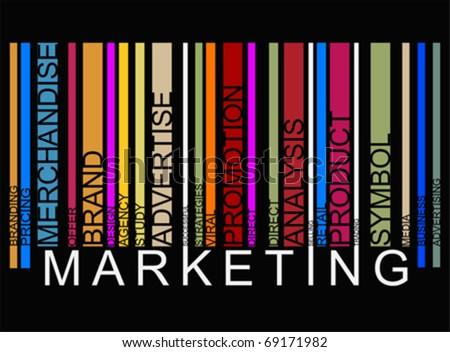 colorful  MARKETING text barcode, vector - stock vector