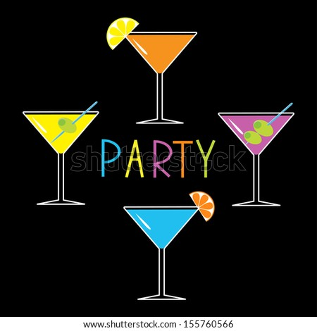 Colorful martini set on black background. Cocktail party card. Vector illustration