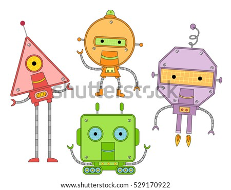 Colorful Mascot Illustration Featuring Futuristic Robots Patterned After Basic Geometric Shapes