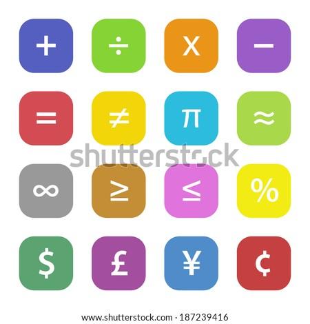Colorful math financial symbols set - stock vector