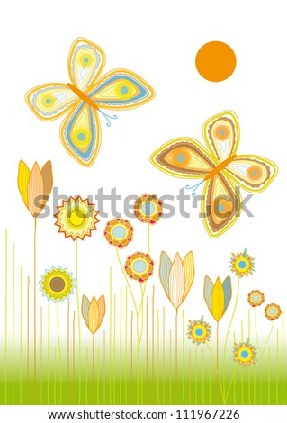 Colorful  Meadow with Flowers and Two Butterflies on Gradient Background - Vector Illustration - stock vector
