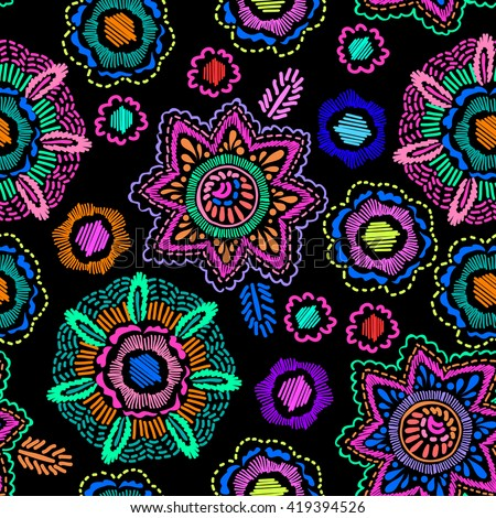 colorful medallion print ~ seamless background  - stock vector