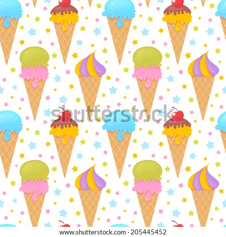 Colorful melting ice-cream seamless pattern on stars background - stock vector