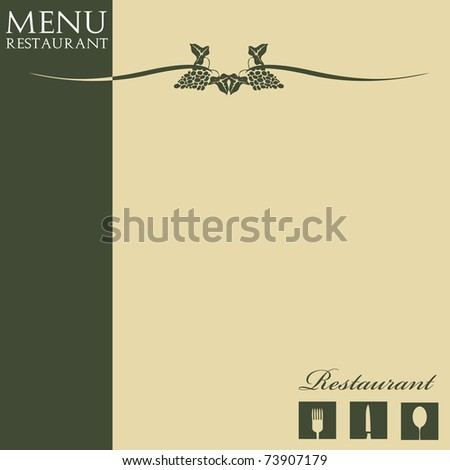 Colorful menu design with restaurant symbols and some stylish grape symbols