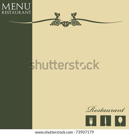 Colorful menu design with restaurant symbols and some stylish grape symbols - stock vector