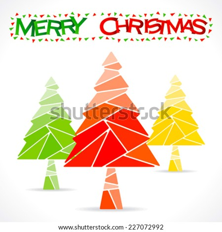 colorful merry chrismtas tree greeting design vector - stock vector