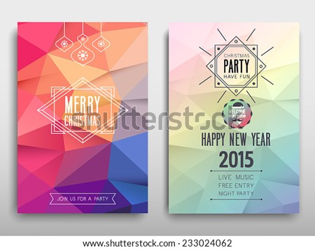 Colorful Merry Christmas flyer. Vector illustration. - stock vector