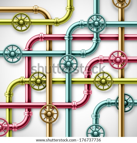 Colorful metal pipes. eps 10 - stock vector