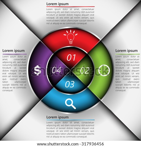 Colorful Metallic Circle Diagram with 4 Options, Number, Business Icon and Text Information. Financial and Business Infographic, Vector Illustration.