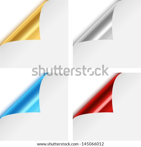 Colorful Metallic Paper Corner Folds - Set of four colorful, metallic paper corner folds isolated on white background.