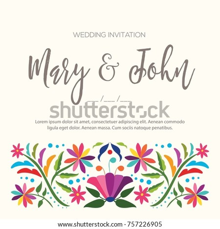 Colorful mexican traditional textile embroidery style stock vector colorful mexican traditional textile embroidery style from tenango hidalgo mxico wedding invitation stopboris Image collections
