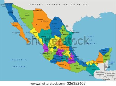Colorful Mexico Political Map Clearly Labeled Stock Vector 2018