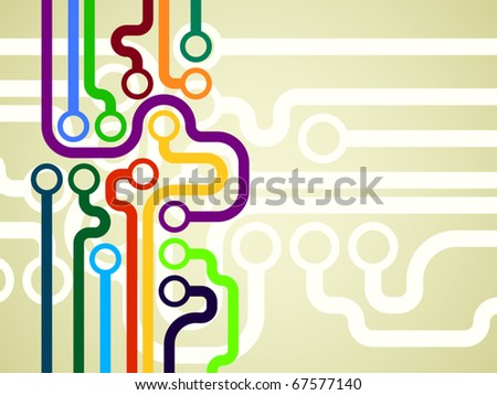 Colorful microchip background. Vector illustration. - stock vector