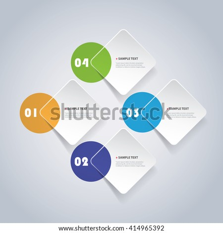 Colorful Minimal Paper Cut Infographics Design - Rounded Squares With Circles - stock vector
