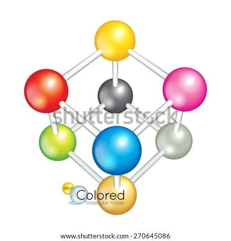 Colorful model of structure crystal lattice isolated on the white background