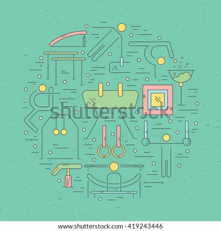 Colorful modern and unique Artistic gymnastics concept made in modern linear vector style. Unique illustration for t-shirts, banners, flyers and other types of business design.  - stock vector