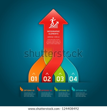Colorful modern arrow circle number options banner. Vector illustration. can be used for workflow layout, diagram, web design, infographics. - stock vector