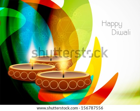 colorful modern background design for diwali festival with beautiful lamps. vector illustration - stock vector