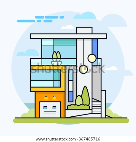 Colorful modern flat residential house. Icon design vector illustration. Eps 10. - stock vector