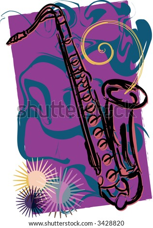 Colorful modern jazz impression vector illustration features sketch of saxophone. - stock vector