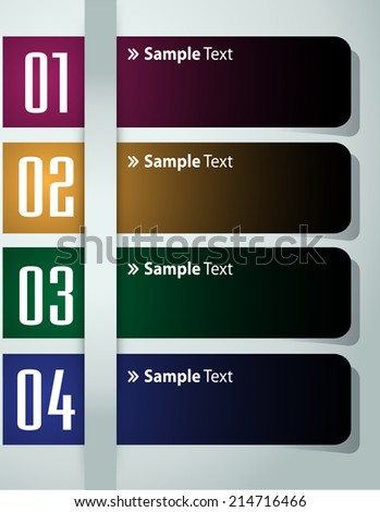 colorful modern label text box template for website and graphic, numbers, icon.