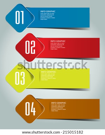 colorful modern label text box template for website and graphic, numbers, icon.  - stock vector