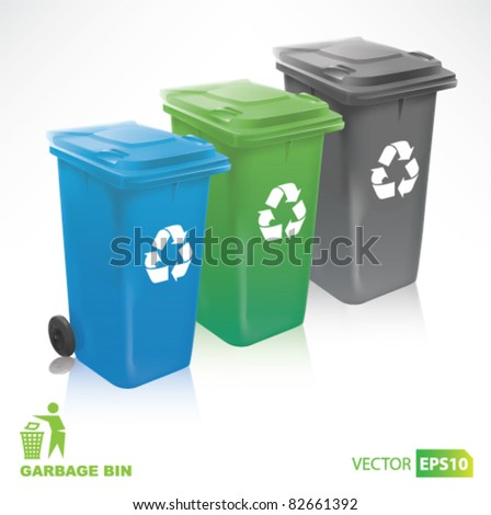 colorful Modern Recycle Bins - stock vector
