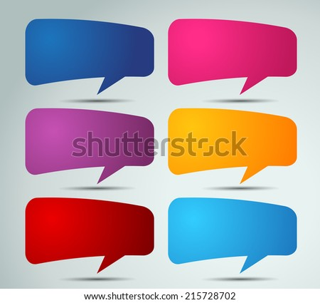 colorful modern speech bubble template for website and graphic, text box.  - stock vector