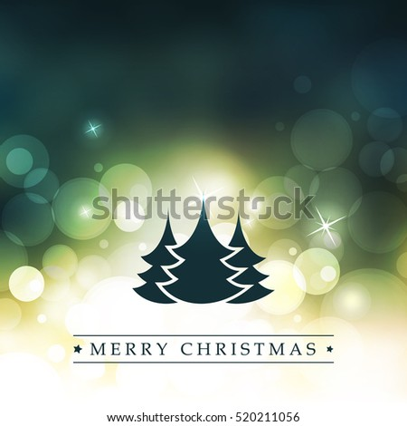 Colorful Modern Style Happy Holidays, Merry Christmas Greeting or Gift Card Design with Label, Christmas Tree on a Sparkling Blurred Background