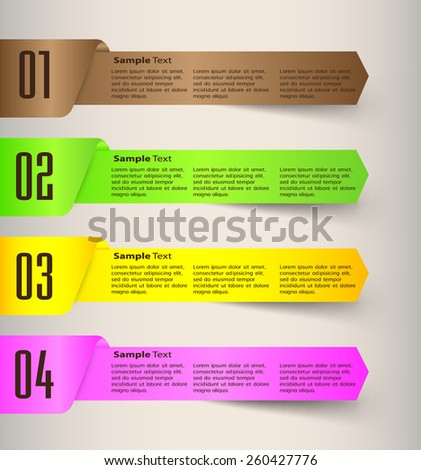 colorful modern text box template for website computer graphic business and internet, numbers. - stock vector