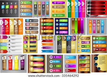 colorful modern text box template for website computer graphic business and internet, numbers. Set of color frames for text or quotes. brochure. many, various. infographics. www. - stock vector