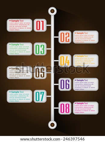 colorful modern text box template for website computer graphic technology and internet, numbers. time line - stock vector