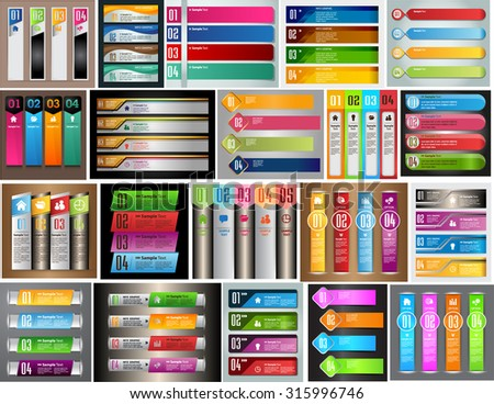 colorful modern text box template for website computer graphic technology and internet, numbers. Set of color frames for text or quotes. brochure. many, various. infographics. - stock vector