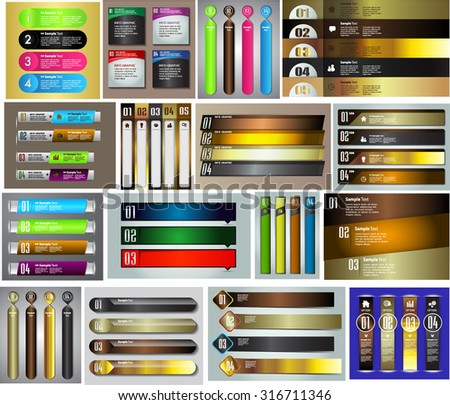 colorful modern text box template for website computer graphic technology and internet, numbers. Set of color frames for text or quotes. brochure. many, various. infographics. gold - stock vector