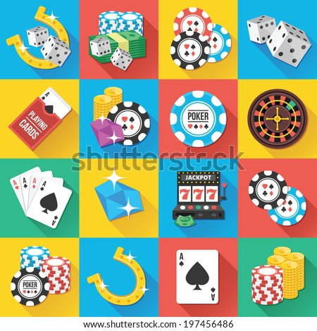Colorful modern vector flat icons set with long shadow. Quality design illustrations, elements and concepts for web and mobile apps. Gambling icons, casino icons, money icons etc. - stock vector