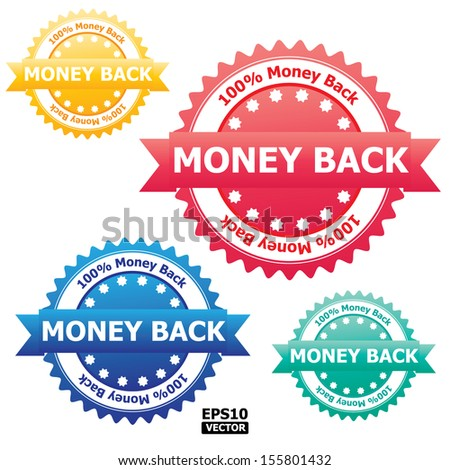"""Colorful """"Money Back"""" sign, rubber stamp, sticker, tag, label, icon, button, symbol.-eps10 vector - stock vector"""