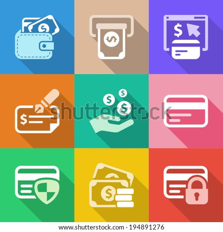 colorful money icons set, for business and finance - stock vector
