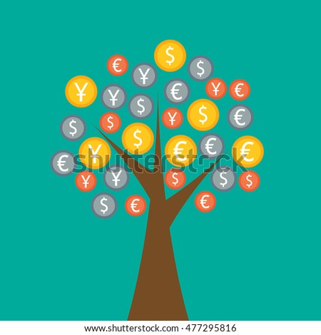 Colorful money tree on green background