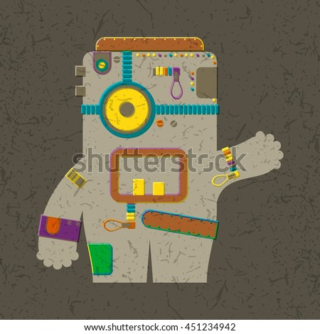 Colorful Monster on brown grunge background. Cartoon illustration - stock vector